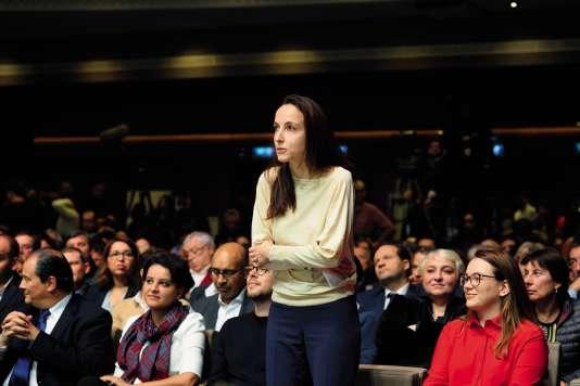 Julia Cagé, lors de la Convention d'investiture de Benoît Hamon pour la présidentielle, le 5 février 2017, à Paris.