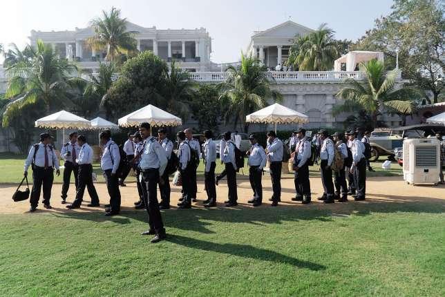 Dans les jardins du Taj Falaknuma, à Hyderabad, où se tenait,le 5 février, le 5e Concours d'élégance automobile.
