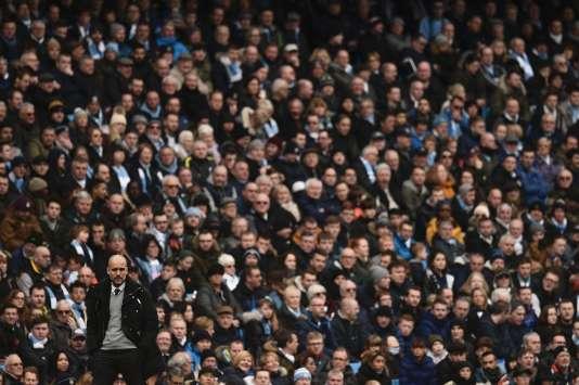 Pep Guardiola lors de la rencontre de Premier League entre Manchester City et Swansea au stade Etihad (Maqnchester, Royanume-Uni), le 5février2017. Les Citizens ont remporté la rencontre 2-1.