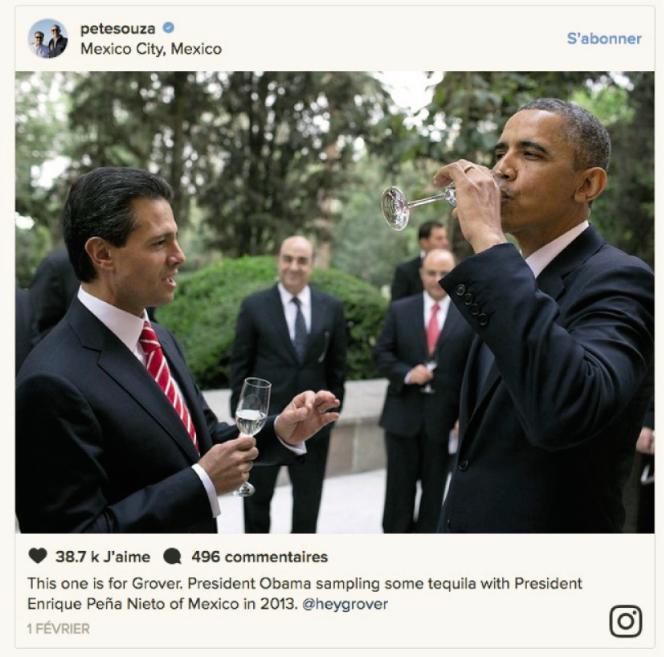 Barack Obama, en 2013, en pleine dégustation cordiale de tequila avec le président mexicain Enrique Peña Nieto.
