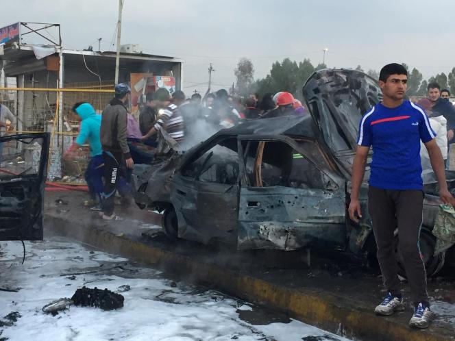 Les lieux de l'attentat-suicidedu mercredi 15 février, dans le quartier de Sadr City, àBagdad.
