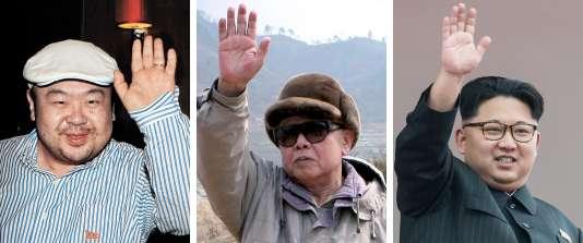 De gauche à droite : Kim Jong-nam, Kim Jong-il et Kim Jong-un.