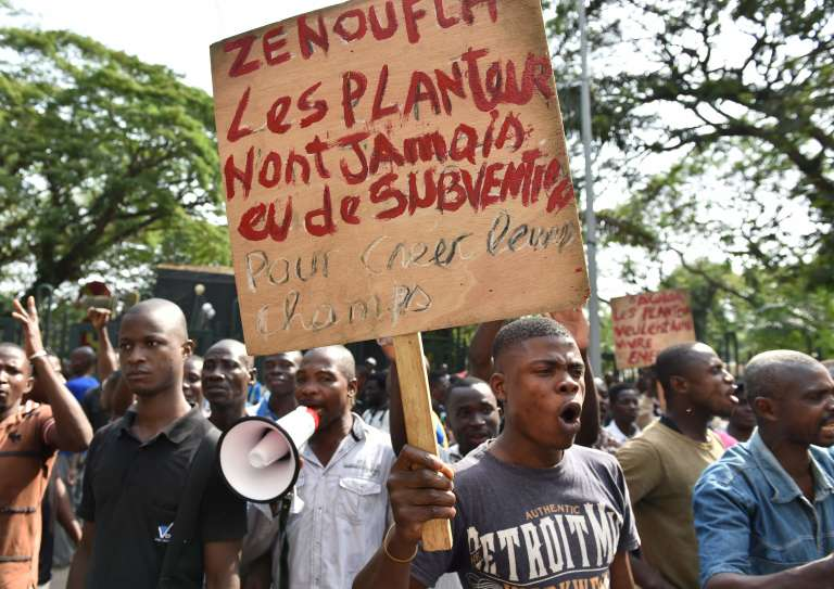 """A cocoa farmer holds a placard reading """"farmers never received subsidies to create their field"""", during a demonstration on February 16, 2017 in Abidjan, to protest against the immobilisation of tons of cocoa in the port of Abidjan, following the freezing of the purchasing system set up by authorities. / AFP / ISSOUF SANOGO"""