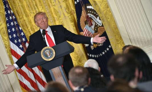 Donald Trump, lors de sa conférence de presse à la Maison Blanche, le 16 février.