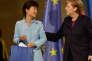 La présidente sud-coréenne Park Geun-hye et la chancelière allemande Angela Merkel, à Berlin en 2014. L'industrie automobile allemande a particulièrement profité de la suppression des barrières commerciales entre l'Europe et la Corée du Sud.