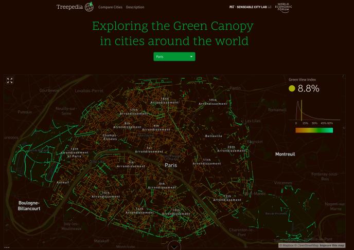La perception de la canopée urbaine à Paris par les piétons, selon Treepedia, un projet du Senseable City Lab du MIT