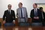 François Hollande, Robert Gelli et Jean-Jacques Urvoas, au ministère de la justice, le 18 juillet 2016.