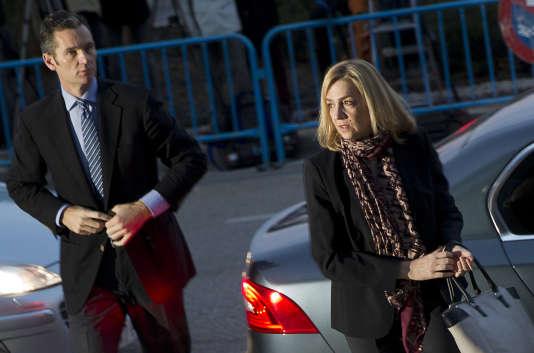 L'infante Cristina et son mari devant le tribunal de Palma de Majorque, le11janvier2016.
