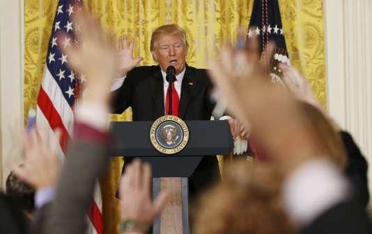 Le président Donald Trump lors de sa conférence de presse à la Maison Blanche, le 16février.