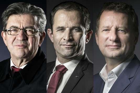 Jean-Luc Mélenchon, Benoît Hamon et Yannick Jadot.