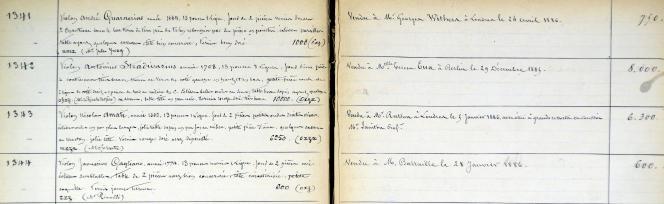 Détail du registre d'achat et vente d'instruments de l'atelier Gand & Bernardel (vers 1885).