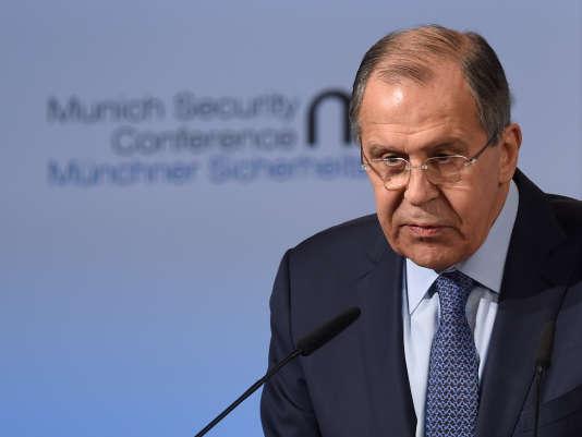 Le ministre russe des affaires étrangères Sergueï Lavrov lors d'une rencontre de « format Normandie » à Munich (Allemagne), le samedi 18 février 2017.