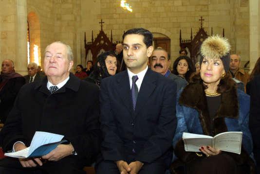 Entre Jean-Marie et Jany Le Pen, Elie Hatem, en décembre 2002 à Beyrouth. Cet intime du clan Le Pen a organisé la visite de la présidente du FN.