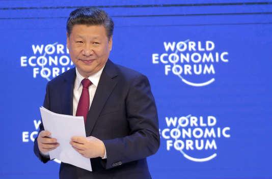 Le président chinois Xi Jinping après son discours au Forum économique mondial, à Davos, en Suisse, le 17 janvier.