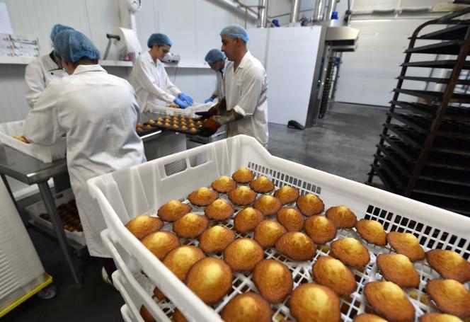 Site de production de madeleines de la biscuiterie Jeannette 1850, à Démouville (Calvados), en décembre2016.