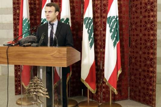 Emmanuel Macron lors de son déplacement à Beyrouth (Liban), le 24 janvier.