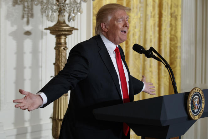 Donald Trump, lors de sa conférence de presse du 16 février, à Washington.
