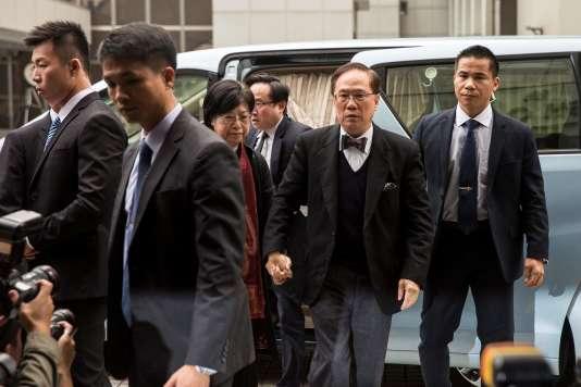 L'ancien chef de l'exécutif de Hongkong de 2005 à 2012, Donald Tsang, 72 ans, arrivant à la Haute Cour le 20 février 2017.