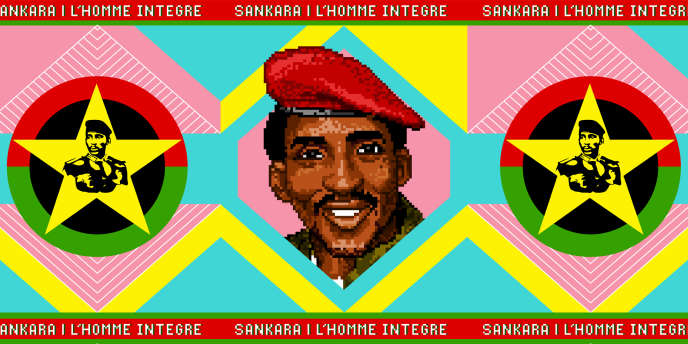 Œuvre de l'artiste Pierre-Christophe Gam mettant en scène le leader révolutionnaire burkinabé Thomas Sankara.