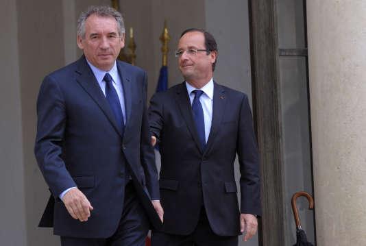 François Hollande reçoit François Bayrou à l'Elysée, le 4 juin 2012.