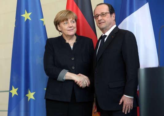 La chancelière allemande Angela Merkel et le président Francois Hollande à Berlin le 27 janvier.
