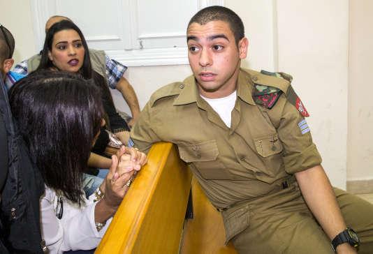Le soldat israélien Elor Azaria devant le tribunal militaire de Tel Aviv le 9 mai 2016.