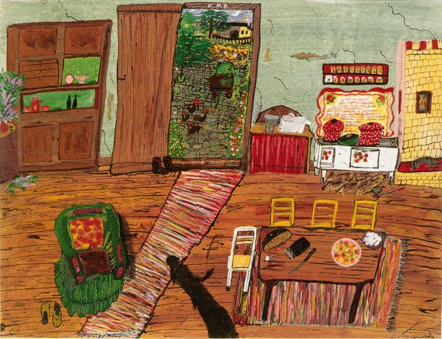 Parmi les toiles « claires» de Ceija Stojka, celles qui évoquent le paradis perdu de l'enfance. Ici, la maison de Vienne, où la famille passait l'hiver, alors qu'elle était itinérante l'été.