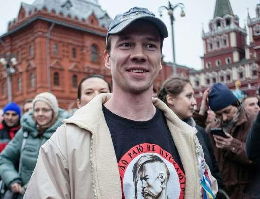 Le militant de l'opposition Ildar Dadine participe à une manifestation sur la place Bolotnaïa, le 6 avril 2014.