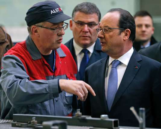 François Hollande en visite sur le site Alstom de Belfort, mercredi 22 février.