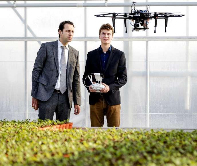 Le secrétaire d'Etat néerlandais à l'économie, Martijn van Dam, assiste à une démonstration de drone qui détecte les maladies des plants de cannabis,à Bleiswijk (Pays-Bas), le 13 février.