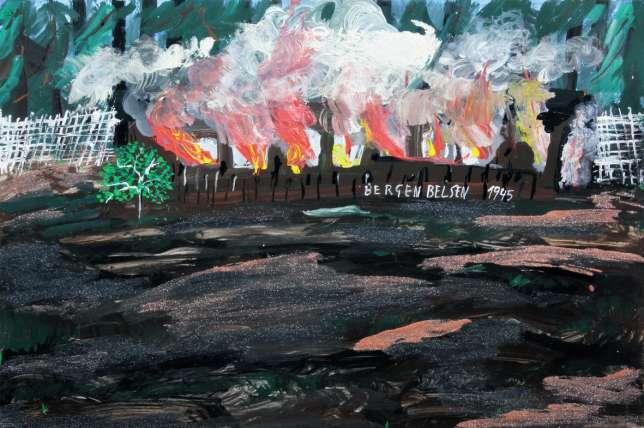 Le camp de Bergen-Belsen, où furent détenues Ceija et sa mère, incendié à la Libération pour enrayer les épidémies (tableau datant de 1996).