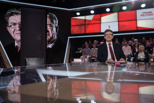"""Jean-Luc Mélenchon à """"l'Emission politique"""" sur France 2, le 23 février."""