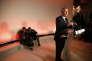 Paris, le 22 février. François Bayrou au siège du MoDem lors de l'annonce de sa décision de ne pas etre candidat aux élections présidentielles.