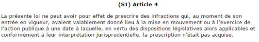 Article 4 de la réforme de la prescription en matière pénale, votée en février 2017.