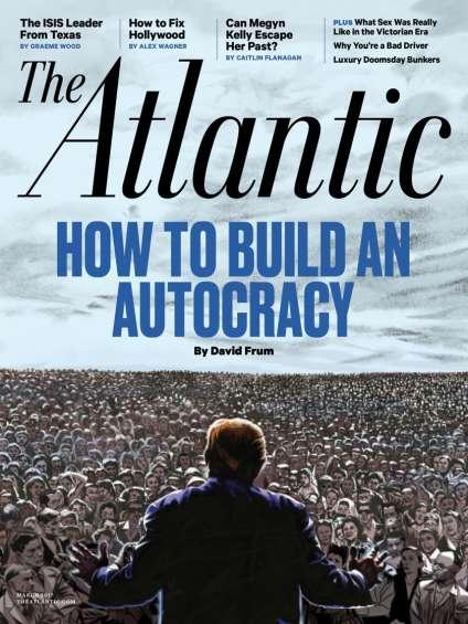 «Parfois je me dis qu'on est dans un roman de Philip K. Dick et que personne ne nous l'a dit…», a dit aux Américains de Paris Jeffrey Goldberg. Ici, lacouverture de mars du mensuel «The Atlantic».