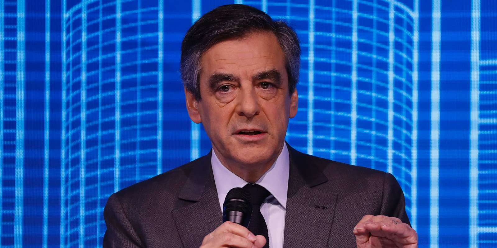 French presidential election candidate for the right-wing Les Republicains (LR) party Francois Fillon speaks during the public works forum