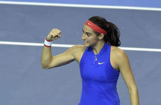 Caroline Garcia en finale de la Fed Cup 2016, à l'époque où elle ne boycottait pas l'équipe de France.