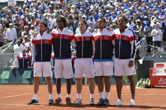 Gilles Simon, Gaël Monfils, Richard Gasquet, et Jo-Wilfried Tsonga aux côtés de Yannick Noah, lors du premier tour de la Coupe Davis 2016 en Guadeloupe, à l'époque où aucun joueur ne boycottait les Bleus.