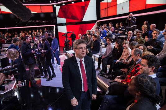 Jean-Luc Mélenchon passe à « L'Emission politique»,sur France2, avec Léa Salamé et David Pujadas.
