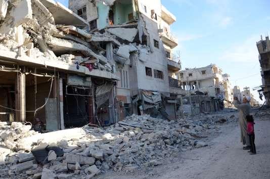 Ruines à Al-Bab le 23 février.