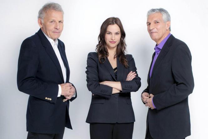 Patrick Poivre d'Arvor et Rachid Arhab, ici avec Virginie Chomicki, directrice adjointe de CNews, décrypteront l'actualité le vendredi à 19 heures.