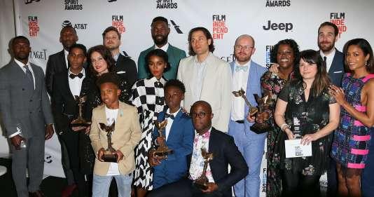 L'équipe de« Moonlight», lors de la cérémonie des Spirit Awards, le 25 février, à Santa Monica en Californie.
