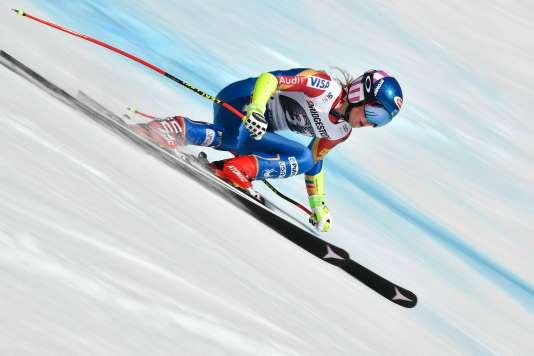 Mikaela Shiffrin s'est imposée dimanche lors du combiné de Crans-Montana (Suisse).