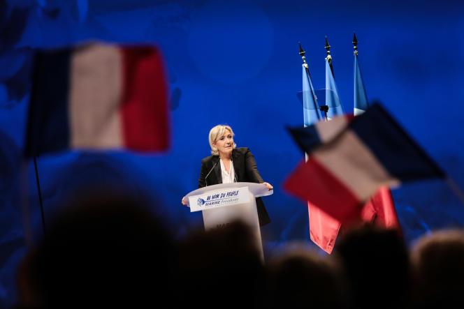 Marine Le Pen en meeting au zénith de Nantes, le 26 février.