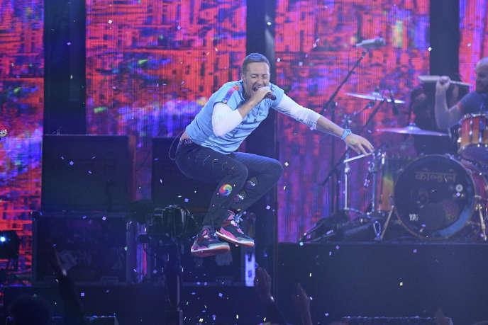 Chris Martin de Coldplay durant les BRIT Awards, à Londres, le 22 février.