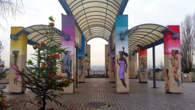 Art urbain de Julien Malland, dit «Seth», sur le belvédère au parc de Belleville (20earrondissement de Paris).