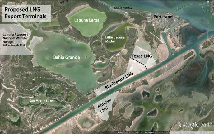 Plan du projet Texas LNG. Le terminal serait construit notamment sur une zone humide.