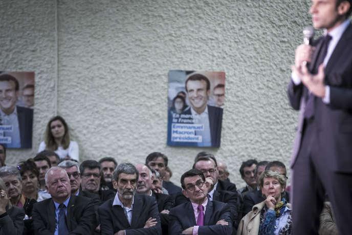 Emmanuel Macron, lors d'un meeting à Souillac (Lot), le 24 février.