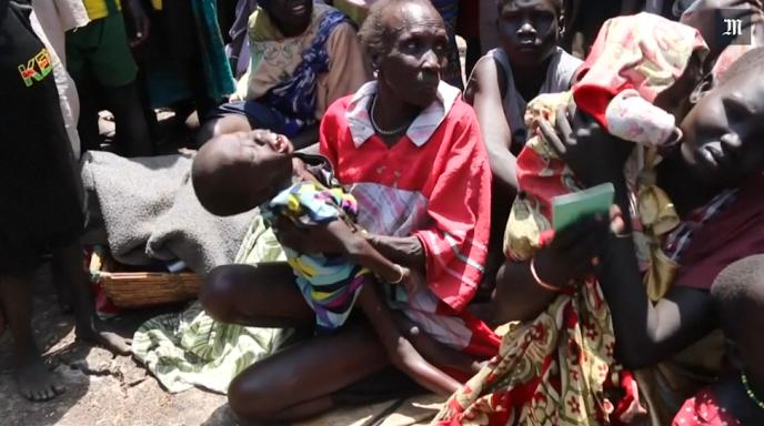 Des femmes et des enfants en souffrance extrême à Leer au Soudan du Sud, dans l'Etat d'Unité, le 25 février 2017