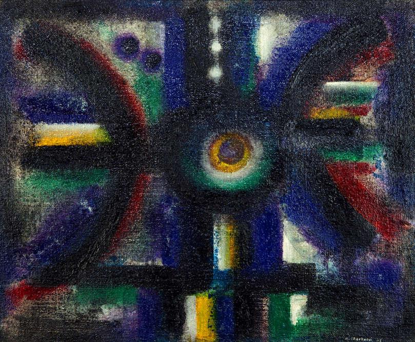 « Cette oeuvre révèle un sens intense de la couleur et un langage formel dans lequel l'artiste remet en question les formes européennes du modernisme. Une interaction délicate entre la toile rêche et l'application subtile de la peinture où l'intensité du travail défie celle de Paul Klee».